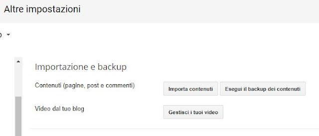 backup contenuti su blogger