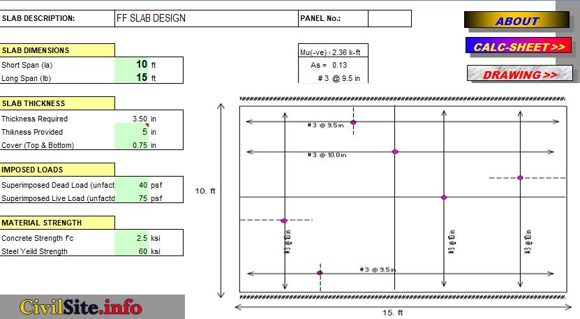 two way slab design calculation, one way slab design calculation, Slab design calculation excel sheet, one way slab design example pdf, two way slab design example pdf
