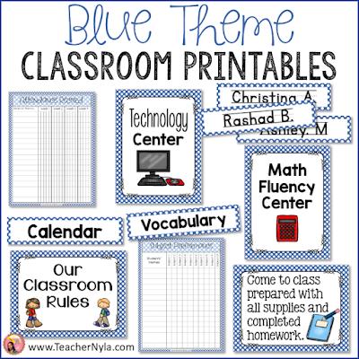 Blue themed classroom printables