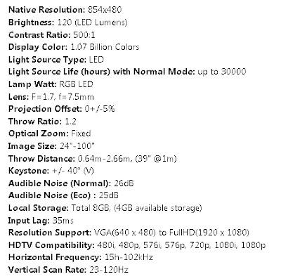 spesifikasi Viewsonic M1 plus