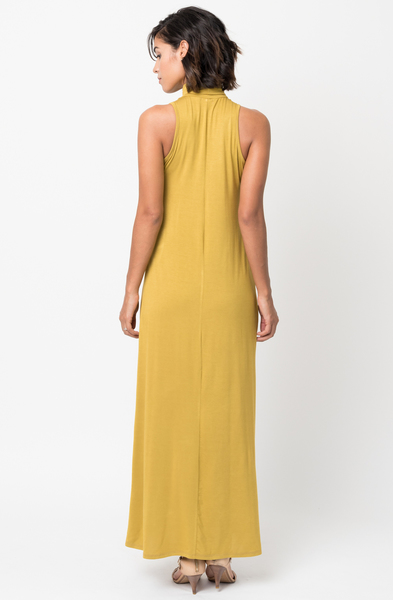 Shop for Mustard Sleeveless Turtleneck Collar Mock Neck Maxi dress online on caralase.com