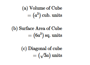Formula for volume and surface area