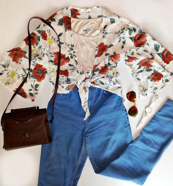 tie blouse, bluza, košulja, floral, cvjetni uzorak, uzorak, print, summer, spring, autumn, fall, ljeto, proljeće, jesen, ideja, idea, outfit inspo,