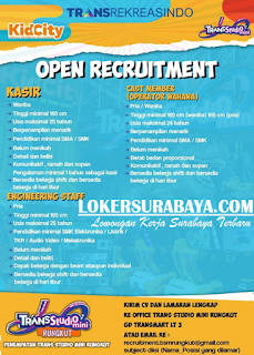 Open Recruitment Trans Studio Mini Rungkut Terbaru Juni 2019