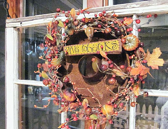 thanksgiving wreath on window