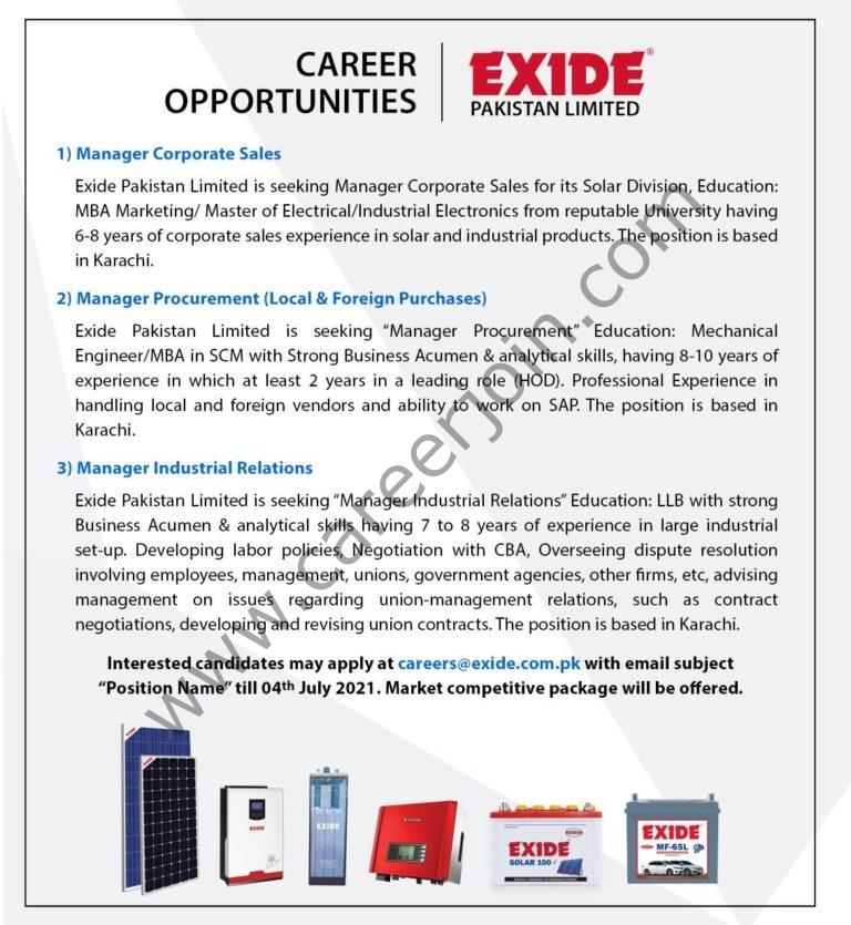 careers@exide.com.pk - Exide Pakistan Ltd Jobs 2021 in Pakistan