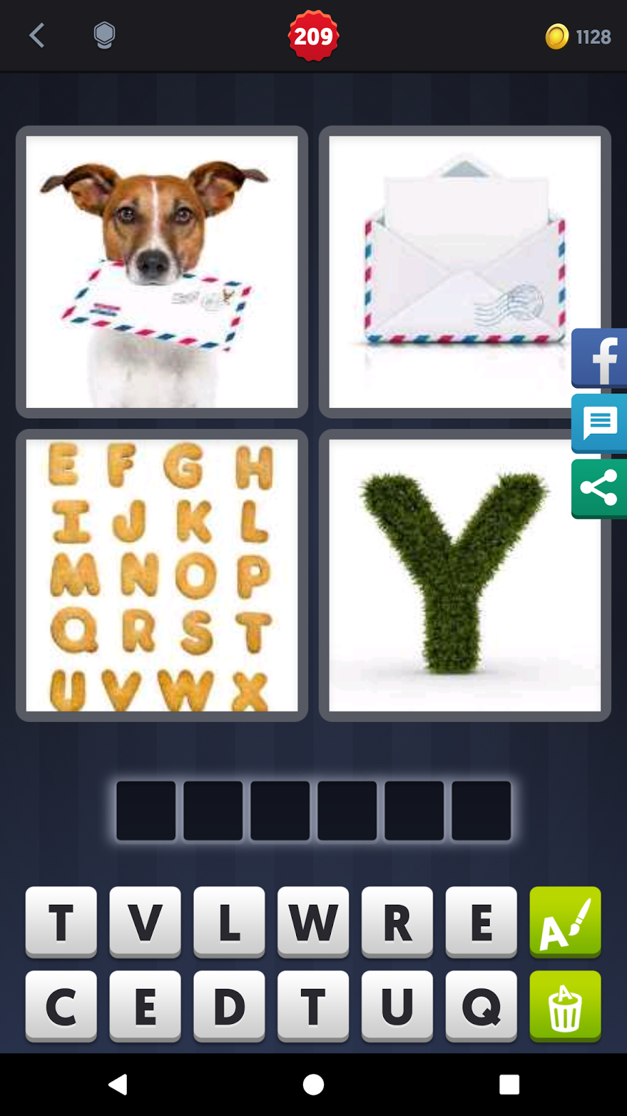 4 Pics 1 Word Answers Solutions Level 209 Letter