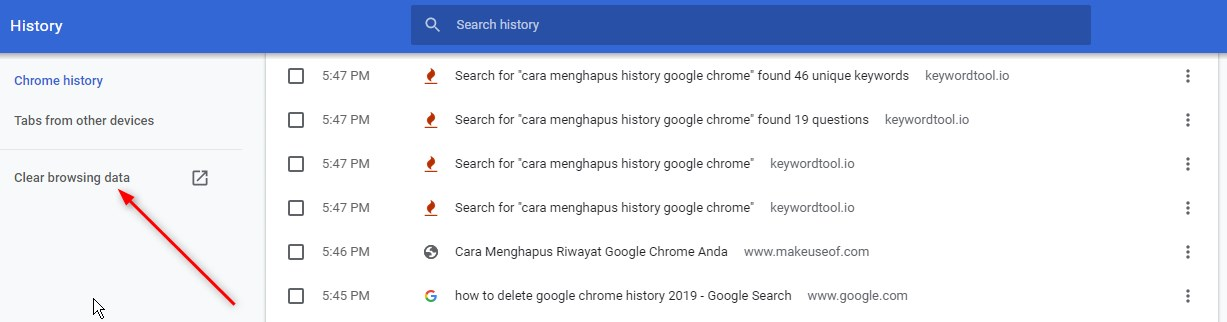 How to delete history on Google Chrome PC