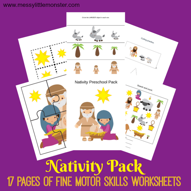 Nativity activities – fine motor skills worksheets