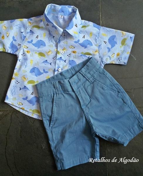Camisa infantil fundo do mar com bermuda de sarja