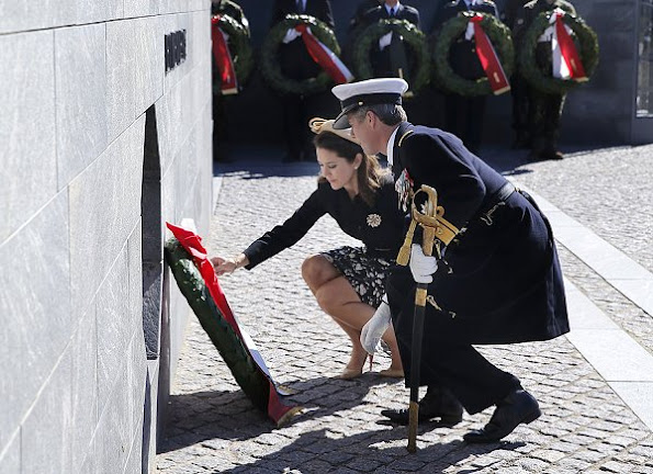 Crown Prince Frederik and Crown Princess Mary attended the traditional wreath-laying ceremony Princess Mary wore Ralph Lauren floral dress
