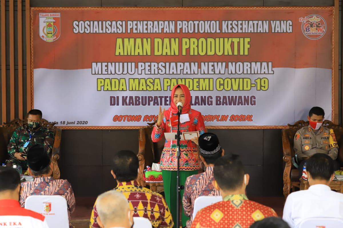 Sosialisasi oleh Bupati Winarti Se,Mh. Untuk Mewujudkan Kabupaten Tulang Bawang New Normal