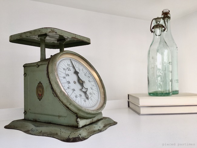 Vintage Scale and Aqua Swing Bottles at Pieced Pastimes