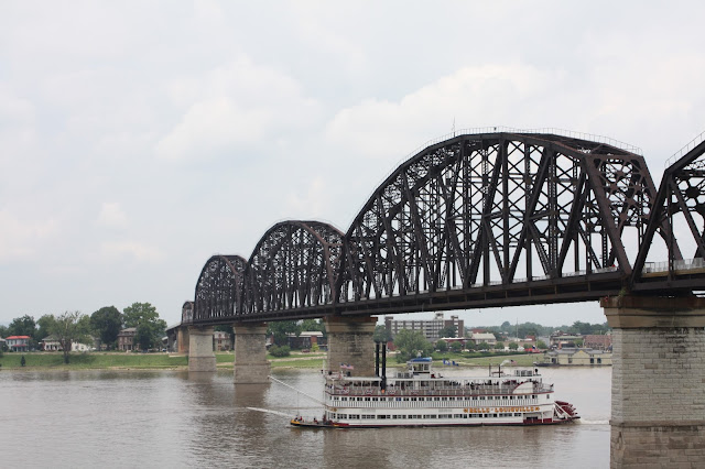 Dixie boat and Big Four Bridge in Louisville, Kentucky
