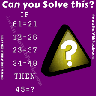 If 61=21, 12=26, 23=37, 34=48 Then 45=?