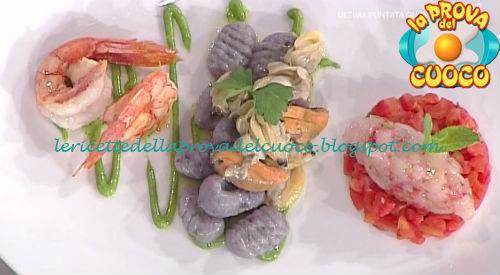 Gnocchi di patate viola con frutti di mare e gamberi ricetta Fava da Prova del Cuoco