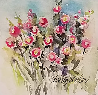 Hollyhocks Mini I © 2020 Christy Sheeler Artist  All Rights Reserved.