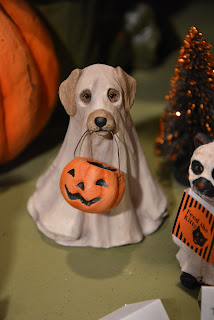 ghost dog,yellow lab dressed as a ghost for Halloween