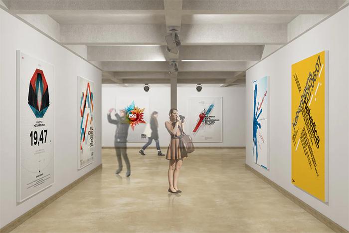 3D Display Wall InExhibition Hall Mockup