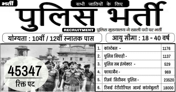 पुलिस भर्ती, Police Government Jobs, police recruitment