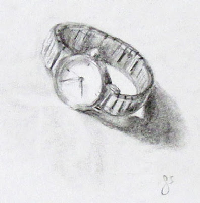 G Sivitz, sketch, drawing, graphite, watch, art