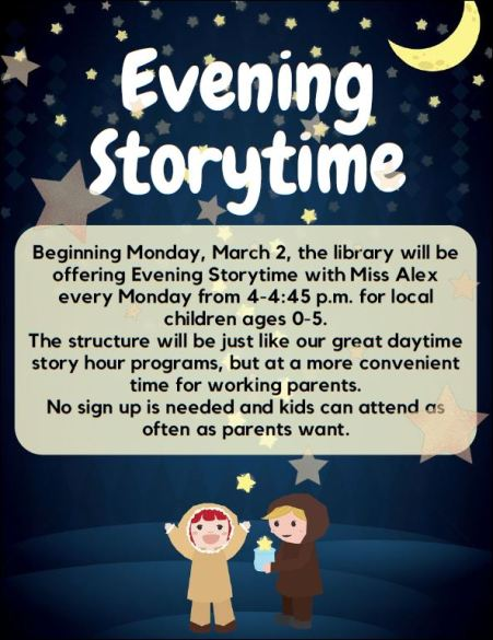 "3-2 Mondays ""Evening Storytime"" Cameron County Public Library"