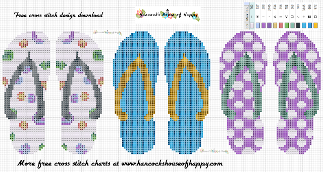 Free Flipflop Tropical Cross Stitch Pattern for Christmas Tree Decorations