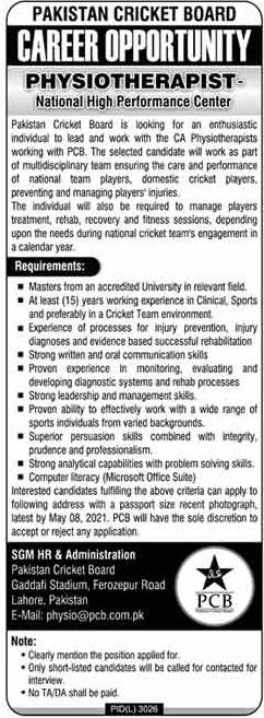 Latest Pakistan Cricket Board PCB Jobs 2021 Advertisement | Jobs In Pakistan 2021 Online Apply