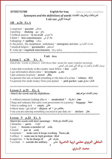 مرشحات اللغة الانكليزية للصف السادس الأعدادي للأستاذ عبدالحسين البدران 2017