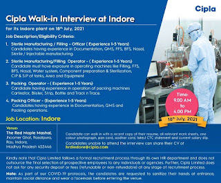 Cipla Limited Recruitment Operator & Officer For Sterile Manufacturing / Packing Department Indore Plant