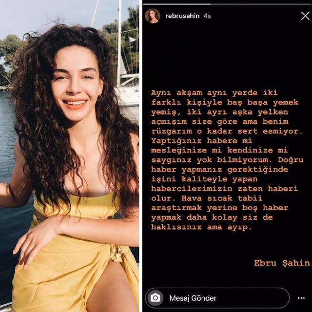 Ebru Şahin, Cedi Osman ile aşk yaşadığı haberlerini yalanladı Benim rüzgarım o kadar sert esmiyor.