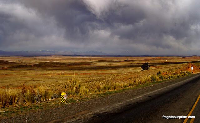 Estrada no Altiplano Boliviano