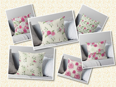 8 photos of mix and match rose pattern cushions and pillows.