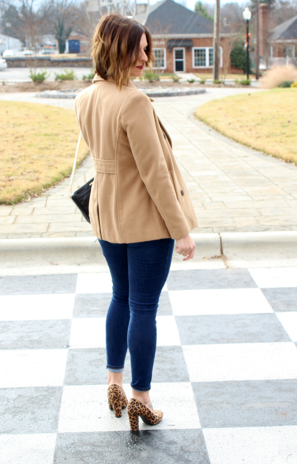 style on a budget, striped peplum top, old navy top, camel pea coat