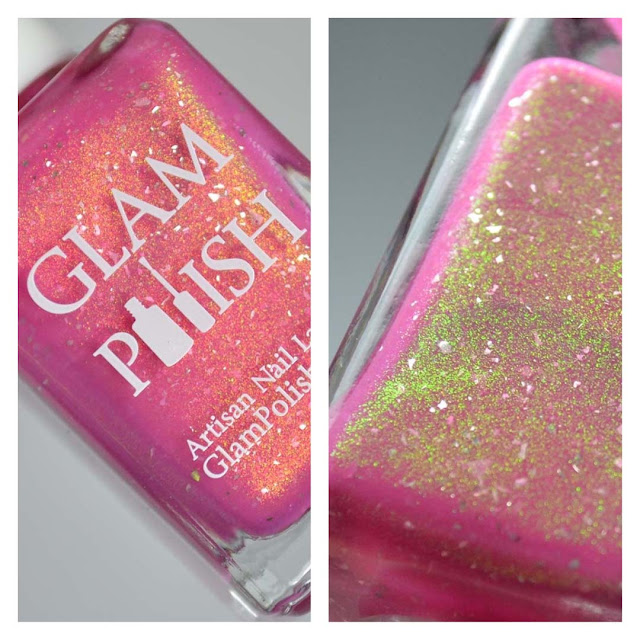 pink nail polish with shimmer in a bottle
