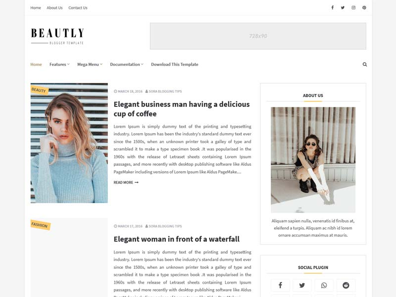 Beautly Blogger Template
