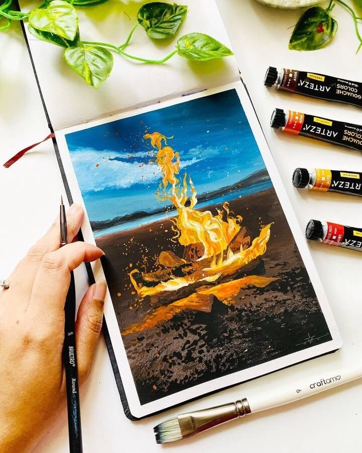 01-Fire-on-the-beach-Geethu-www-designstack-co