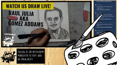 Drawing Raul Julia aka Gomez Addams from The Addams Family - Come Hang Out