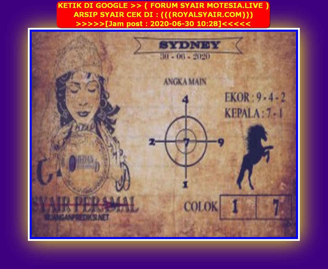 Kode syair Sydney Selasa 30 Juni 2020 102