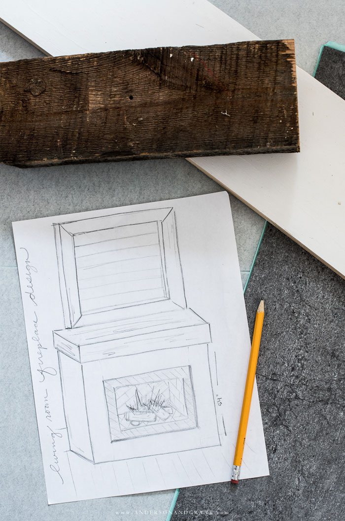 Sketch of fireplace design