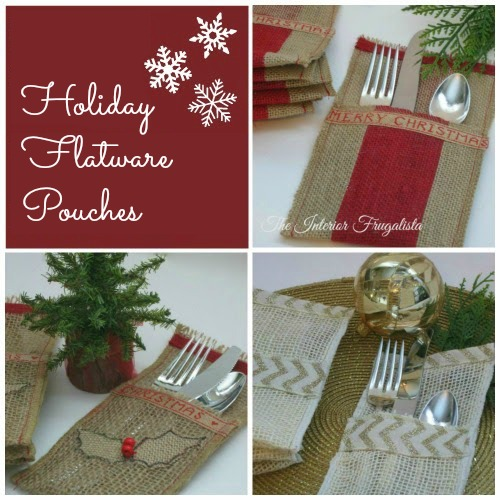 Burlap Holiday Flatware Pouches