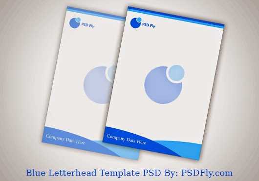 Blue Letterhead Template PSD Hello Friends, Customizable PSD