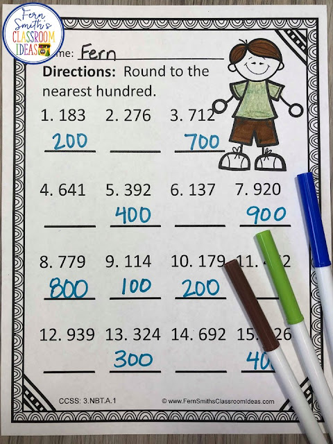 This 3rd Grade Go Math 1.2 Round to the Nearest Ten or Hundred Color By Number Resource includes 5 student pages for introducing or reviewing Round to the Nearest Ten or Hundred and 5 answer keys. You will love the no prep, print and go ease of these Round to the Nearest Ten or Hundred printables. Rounding is an essential skill to master in third grade. Students need to be able to understand rounding whole numbers to the nearest 10 or 100 as a stepping stone for many third grade math skills. With the 5 Answer Keys also included, this helps you quickly and efficiently check your students work in a very short amount of time.