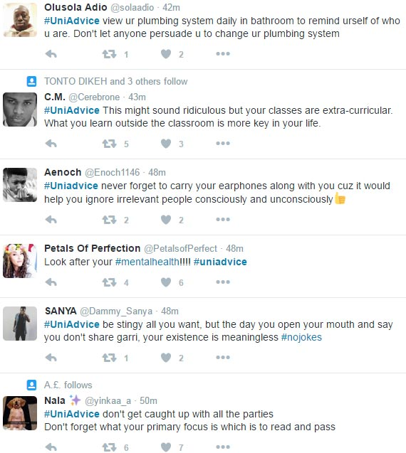 #UniAdvice trending on Twitter: JAMB students are now advising us on university life