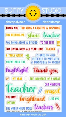 Sunny Studio Blog: Introducing Teacher Appreciation 4x6 Clear Photopolymer Sentiments Greetings Stamps