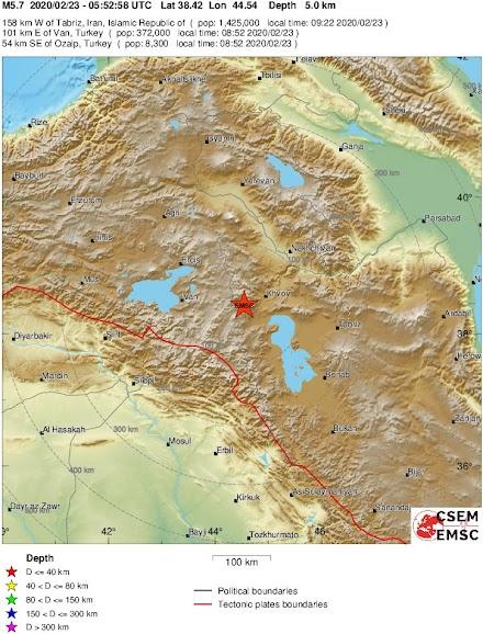 Σεισμός 5,7 βαθμών στα σύνορα Τουρκίας - Ιράν,επτά νεκροί