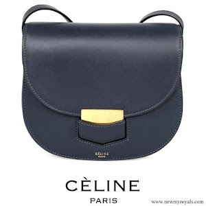 Princess Marie carries Celine Navy Blue Leather Medium Trotteur Shoulder Bag