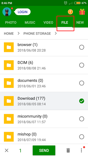 Sending a folder on xender android and ios