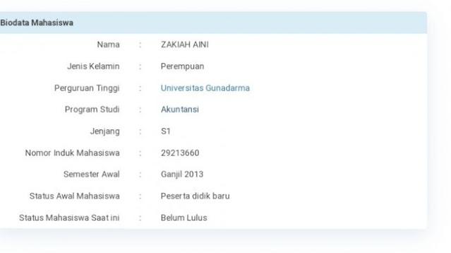 Di-Drop Out, Zakiah Aini Pernah Kuliah Akutansi di Gunadarma Depok