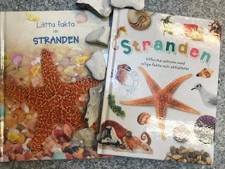 Bild på två omslag av böckerna, omslagen har bilder av stranddjur. Strandstenar ligger mellan böckerna.